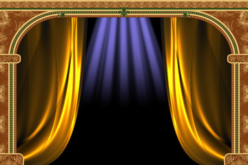 Arch with ornaments, curtain and lights