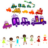 caravan, group of kids playing poster