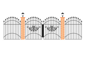 elegant wrought iron gates with brick pillars and lamps