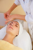 Facial cryogenic massage in spa salon poster