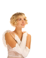 Beautiful angel girl over white background