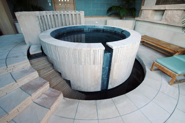 Abstract of Exotic Hot Tub in a Spa Setting