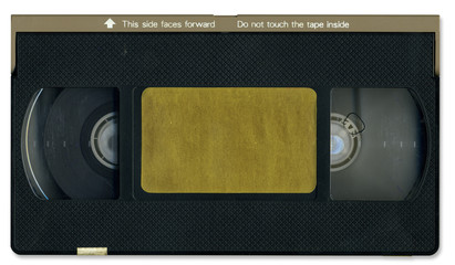 Old video cassette tape front including clipping path