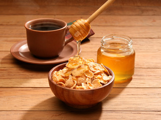 Healthy breakfast with honey