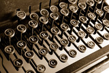 Vintage Typewriter with sepia cast showing most keys poster