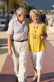 happy senior couple strolling on vacation poster
