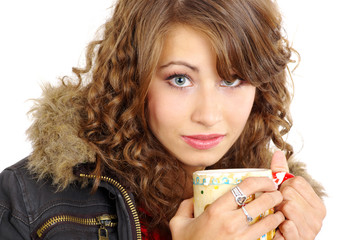 beautiful young girl  portrait with hot coffee cup