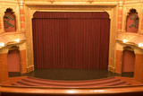 cinema stage with red velvet curtains poster