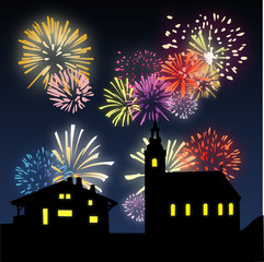 Feux d'artifice au village - Illustration