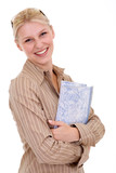 smiling blonde women holding a notebook poster