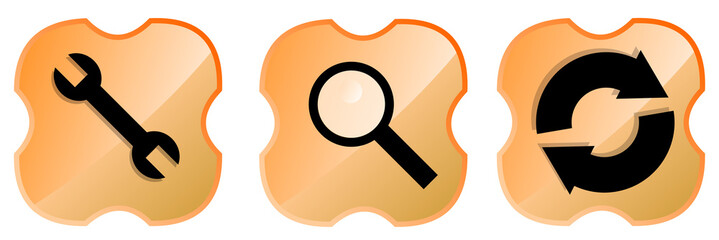 Web tools icon set orange