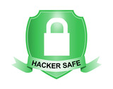 Shield with padlock hacker safe poster