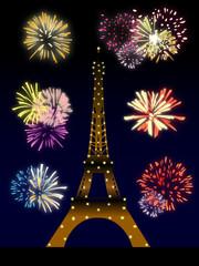 Feu d'artifice derrière la Tour Eiffel illuminée - Illustration