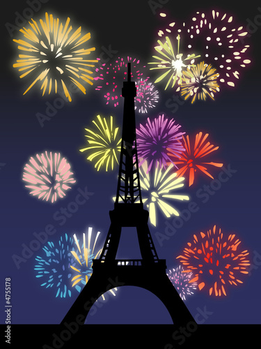 Feu d'artifice à la Tour Eiffel - Illustration