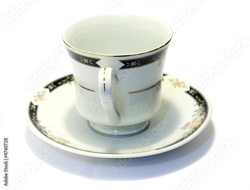 porcelain tea cup and saucer with white background