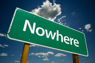 """""""Nowhere"""" Road Sign with dramatic blue sky and clouds."""