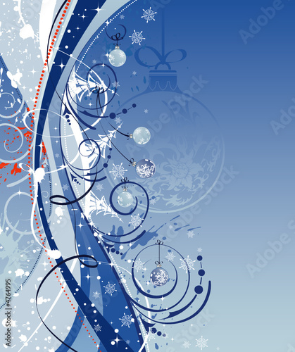 Christmas background with waves and baubles, vector