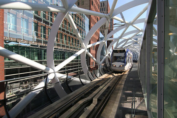 Newly built railway track for speed tram in business district