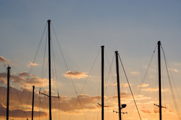 yacht masts at sunset