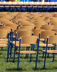 lined-up chairs