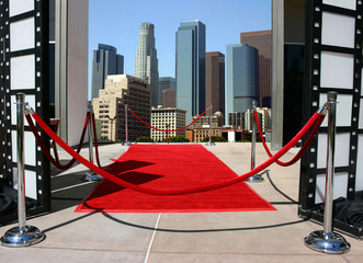 Red carpet and Los Angeles downtown