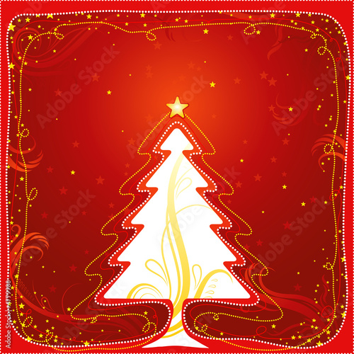 christmas card  with one tree and many stars, vector