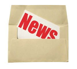 envelope and note with news