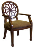 Traditional  Style Accent Chair in Cherry Wood Trim poster