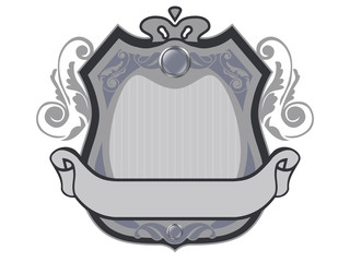 Royal badge with a banner for your text, isolated