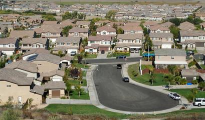 Elevated View of New Contemporary Suburban Neighborhood.