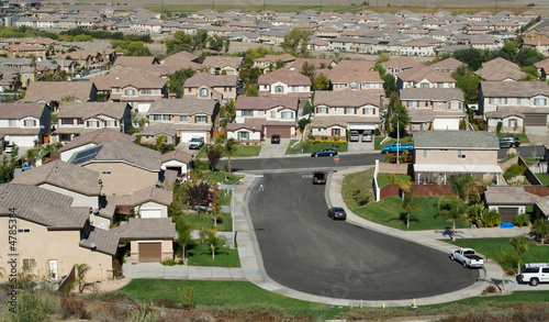 Elevated View of New Contemporary Suburban Neighborhood.