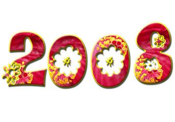 2008 fleuri sur fond blanc