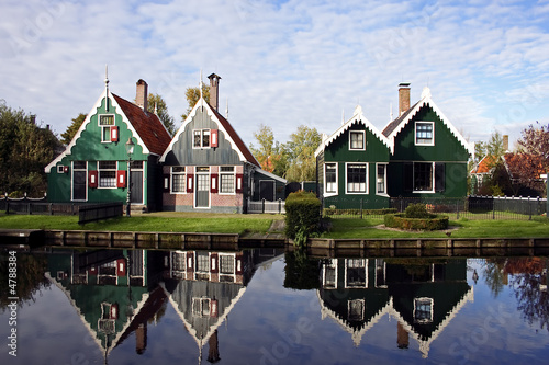 Old dutch houses from Holland reflected in the canal