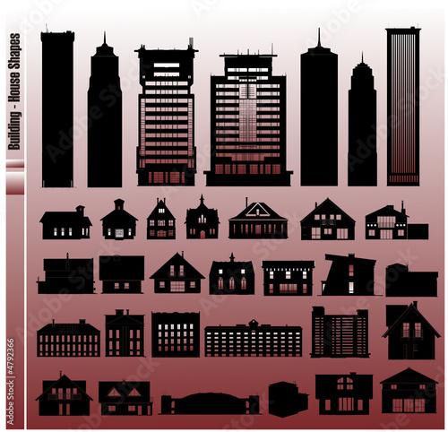 siluetas de edificios y casas