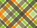 Fototapety retro orange green brown plaid pattern
