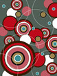 Quadro retro red and brown pop circles