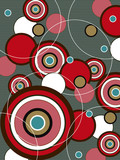 Fototapety retro red and brown pop circles