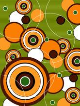 Retro pomarańczowy i zielony pop circles