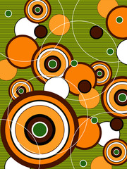 retro orange and green pop circles