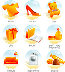 Icon set - shopping related items. Aqua style. Vector