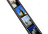 Film strip with vacation snap shots poster