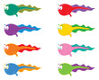 8 swimming colorful tadpoles - cartoon illustration