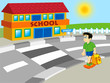 boy walking to school - cartoon illustration