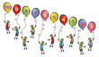 little men with balloons and numbers - cartoon illustration