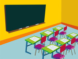 classroom with empty blackboard - illustration
