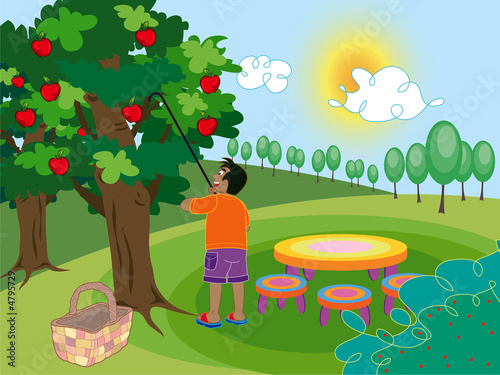 dates tree cartoon. boy and apple tree - cartoon