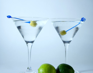 Cocktail glasses with olives