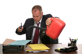 Businessman burning paperwork. poster