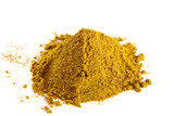 pile of curry powder on white background poster