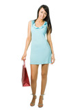 Shopping woman in blue with red package poster